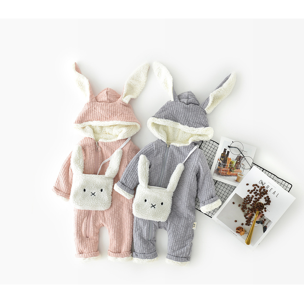 2pcs Infant Clothes Long Sleeve Fashion Baby Romper Long Sleeve Thicken Jumpsuits +Character Rabbit Solid Hooded Baby Clothes<br>