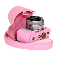PU Leather Camera Case Bag Cover for Sony Alpha A5100 A5000 NEX3N 16-50mm Lens with Shoulder Strap Free Shipping Pink Y(China)