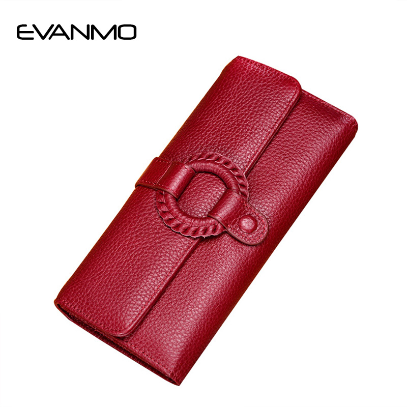 High Quality Ladies Genuine Leather Purse Long Wallets Soft Natural Skin Personalized Woven Wallet High Capacity Female Clutches<br>