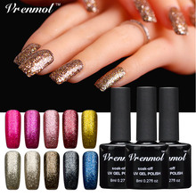 Vrenmol 1pcs 3D Shining 12 Colorful Glitter Platinum UV Nail Gel Polish Soak Off UV/LED Lacquer Vernis Semi Permanent