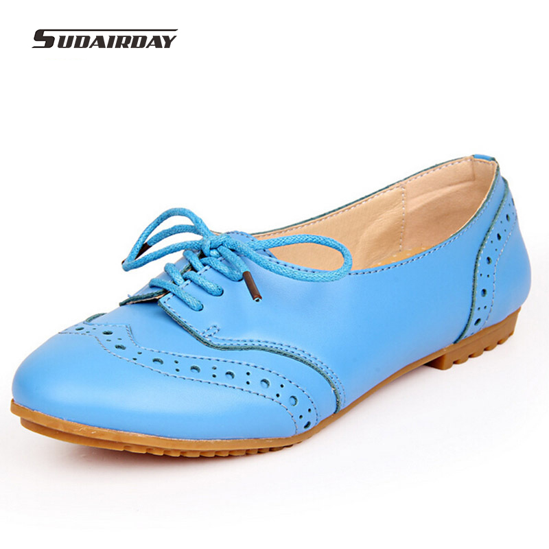 New Womens Flat Shoes 2016 Fashion Round Toe Flats Lace-Up Genuine Leather Oxford Shoes For Women Leather Shoes Plus Size 35-40<br>