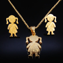 Cute Girls Stainless Steel Jewelry Sets Kids Women Necklaces Earrings Gold Silver Color Jewerly sets conjuntos de joyas S852