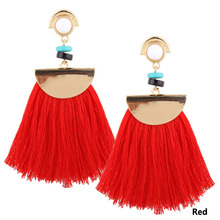 Vintage Big Fan Fringe Earrings Pink Black Red Blue Brush Tassel Earrings Drops For Women Jewelry