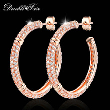 Double Fair Brand Luxury Cubic Zirconia Big Stud Earrings Rose Gold Color Fashion Crystal Drop Jewelry For Women Brincos DFE617(China)