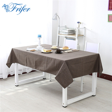 1pc 135x180cm Rectangle Tablecloth Solid Color Cotton Linen Rural Table Cloth Washable Fiber Home Wedding Party Table Covers