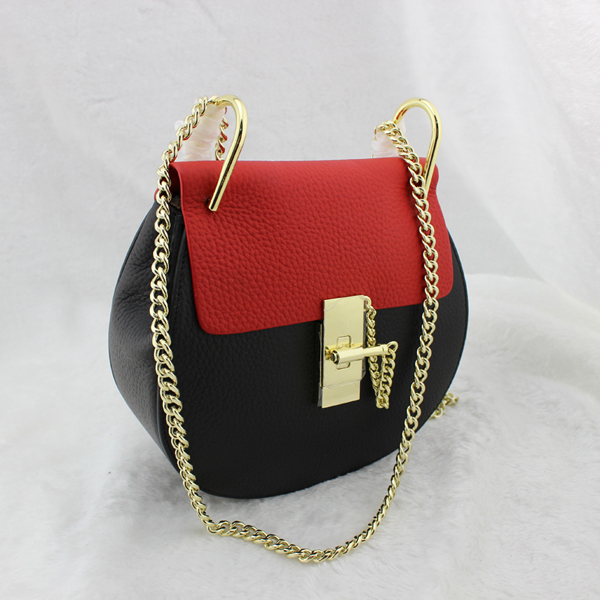 100% real leather womens crossbody bag high fashion street styling top grain cow leather classical bag chain small bag<br>