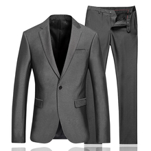 Luxury Men Wedding Suit Male Blazers Slim Fit Suits For Men Costume Business Formal Party Classic Silver gray one button suits(China)