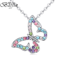 BAFFIN New Fashion Butterfly Chain Pendant Necklace For Women Fashion Necklace Crystasl From Swarovski Elements jewelry