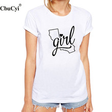 California Girl Ladies T-shirt Hipster Graphic Tees Women Tops Black White Cotton Tshirt Harajuku Women Clothing Tee shirt femme(China)