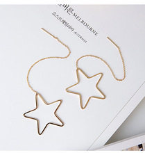 Classic Hollow Star Pending Earrings Gold Plated Women Long Tassel Fringe Earrings Ear Chain Line Jewelry Dress Accessories