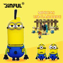 Cartoon minions USB Flash Drive 32gb 64gb cheap pen drive flash disk 4GB 8GB 16GB USB Stick memory stick Pendrive u disk as gift(China)