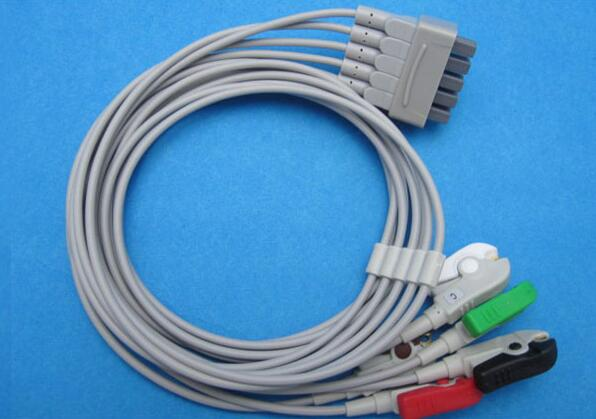 Compatible For GE Dash1000/2000/3000/4000  ECG 5 Leadwires Clip end ECG Trunk Cable Medical Wire Cables AHA<br>