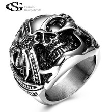 2017 GS Men Rings Pirates of the Caribbean White Crystal Inlay Skull Head Ring White Gold Color Jewelry Father's Day Gift(China)