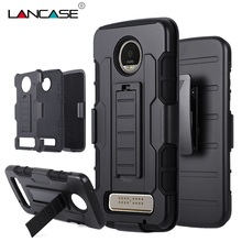 LANCASE For Moto Z Play Case 3 in 1 Hybrid Silicone Shockproof Armor Case For Motorola Moto Z Play Belt Clip Holster Stand Cases