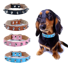 Chic Real Leather Rivet Pet Dog Collar Spiked Studded Strap Pitbull Collars for Dogs Cat Pet Products Free Shipping collar perro