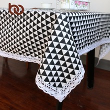 BeddingOutlet Black Triangle Print Tablecloth Cotton Linen Dinner Table Cloth Macrame Decoration Lacy Table Cover Europe Style(China)