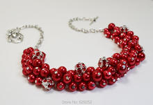 Red Pearl and Rhinestone Chunky Necklace, Pearl Cluster, Bridal Jewelry, Red Bridesmaids Chunky Necklace MN054(China)