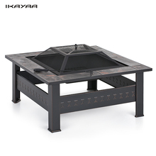 iKayaa US Stock Outdoor Table Metal Backyard Garden Fire Pit Patio Square Table For Outdoor Activities