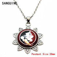 New Free Chain Necklace Vintage Sunflower NCAA Florida State Seminoles Pattern Glass Pendant Necklace For Women Necklace Jewelry(China)