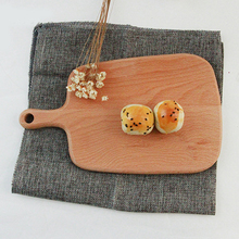 Beech Wood Handle Pizza Tray Kitchen Plate Chopping Board Pizza Sushi/Cake Plate Kitchen Bar Serving Tray 16X26.5cm/6.3x10.4in