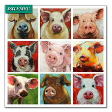 Diamond Painting Cross Stitch Kits 3D square Rhinestones Pictures Diamond Embroidery Cute big ear pig Mosaic Crafts For Handmade(China)