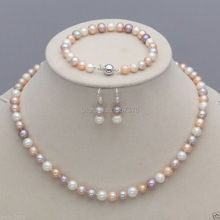 Free Shipping  00001 Genuine 7-8mm White Pink Purple Freshwater Pearl Necklace Bracelet Earrings Set