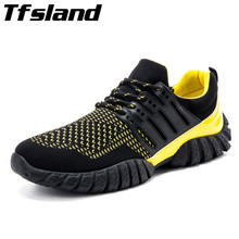 Tfsland Men Fly Woven Breathable Outdoor Sport Shoes Male Lace Up Flat Lightweight Running Shoes Zapatillas Hombre Soft Sneakers(China)