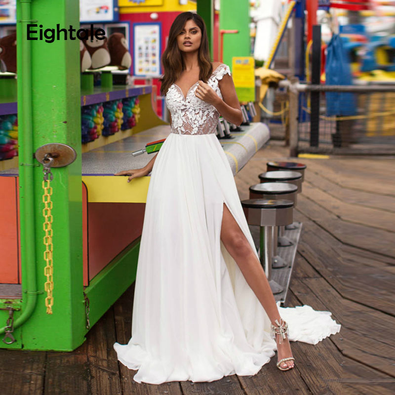 Eightale Boho Wedding Dresses Sweetheart Appliques Lace A-Line Beaded Backless Princess Wedding Gowns Princess Bridal Gowns