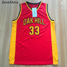 SexeMara Mens #33 Kevin Durant Oak Hill High School Embroidered Stitched Red Throwback Basketball Jerseys