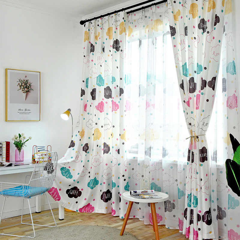 Cartoon Cute Cloud Semi Shading Curtains for Kids Bedroom Living Room Tulle Window Treatments Print Drapes For Children Custom