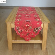 vezon New Christmas Embroidery Red Table Runner Satin Embroidered Xmas Candle Tablecloth Cutwork Table Topper Towel Cloth Covers(China)