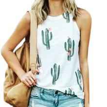 Woman Fashion Tops 2017 Cheap Clothes Cute Tops Cactus Printed T-Shirt Sexy Sleeves Girls Wear Casual Streetwear T Shirt WS506Y