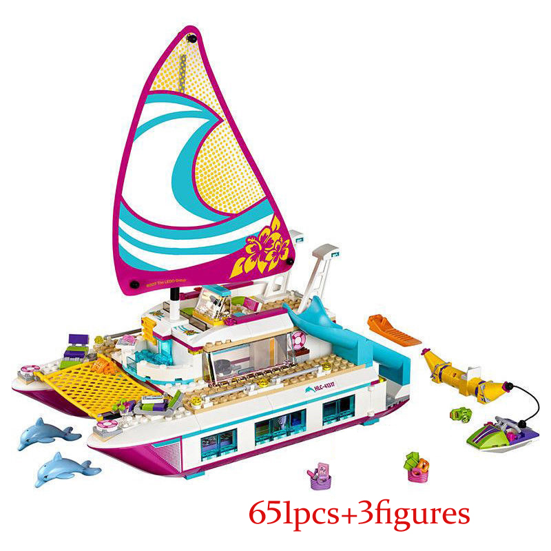 01038 Friends Girl Series Bela Sunshine Catamaran Dolphins Olivia Stephanie Building Blocks Bricks Toys Girl Gifts 41317 Lepin<br>