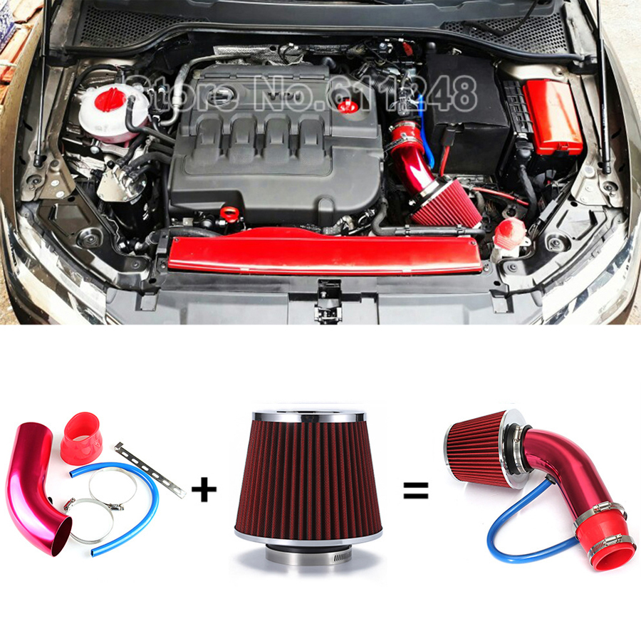 """RED 2.5 Inches 2.5/"""" Inlet 63mm Cold Air Intake Cone Dry Filter BMW"""