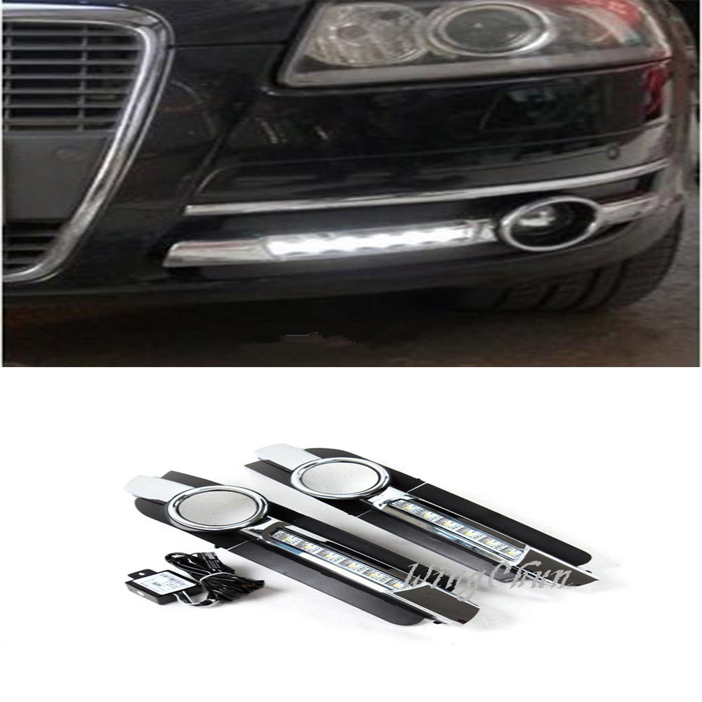 New Arrival Front Bumper Lower Insert Fog Lamp Cover , ABS Fog Light Mask Cover Grill Grid With LED For AUDI A6 C6 2005-2008<br><br>Aliexpress