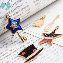 Homemade DIY accessories alloy pendant bracelet pendant oil drop bottle cap cat star key