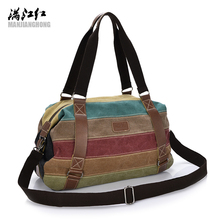 Patchwork Women Canvas Shoulder Bag Handbags Colorful Retro Ladies Messenger Crossbody Bags Women Large Tote Bag Female Bag 1208(China)