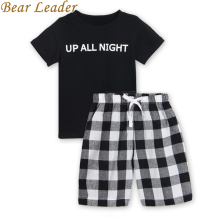 Bear Leader Boys Clothing Sets 2017 New Summer Popular Black White Letter T-Shirt + Plaid Pants Sets Hot Sale Kids 3-7Years Old