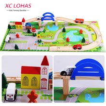 40pcs/set DIY Wooden City Train Track Building Blocks Toy Baby Assemble Traffic Diecasts & Toy Vehicles Toys Christmas Gifts(China)