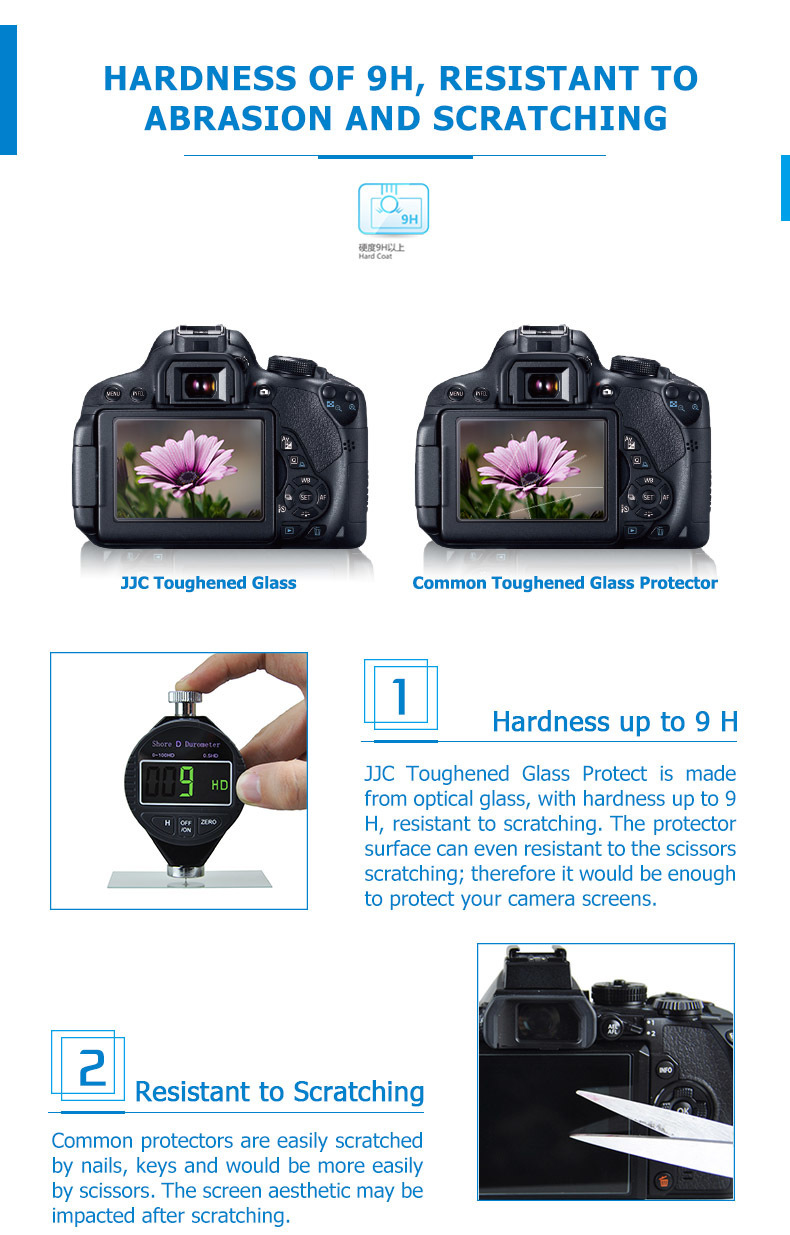 JJC For CAISO EX-TR500 /TR550 Ultra-thin Camera Display Cover 2.5D Round Edges Optical Glass LCD Screen Protector