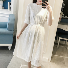 New Summer Vintage Women Long dress Short Sleeve Sam Literary Less Days Students Small Qing Fairy Dresses White Black 8826(China)
