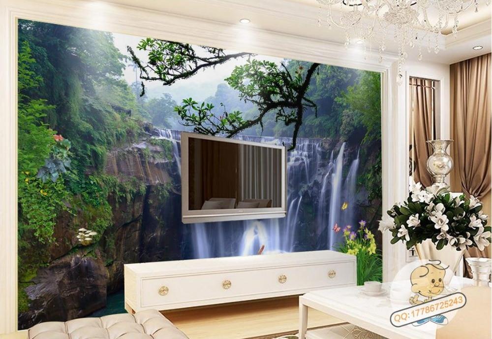 3D photo wall mural Custom wallpaper Waterfall Stereo Landscape Wall Back 3d room wallpaper landscape 3d mural wallpaper<br>