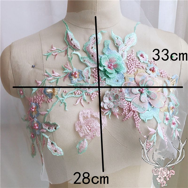 Color - Navy Blue 3D Flower Lace Embroidery Bridal Applique Beaded Pearl Tulle DIY Wedding Dress
