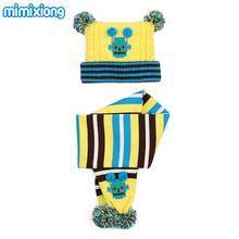 Rainbow Stripes Girls Beanie Cap Scarf Set Autumn Knitting Pattern Children's Boys Thermal Hats Scarves Suits Kids Winter Warmer(China)