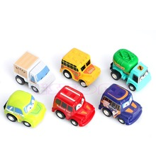 New 6pcs Classic Boy&Girl Truck Vehicle Kids Child Toy Mini Small Pull Back Car Color Random delivery(China)