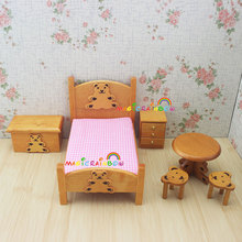 Bedroom Furniture Wooden Crib Bed Baby Roundtable Bench Stool 1:12 Scale Dollhouse Miniatures 6pc set Kids Bjd Doll House(China)