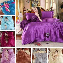 silk bedding set 3/4pc home textile bed linen set duvet cover soft silky bedding full twin queen king size
