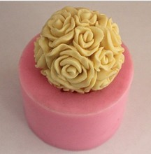 Rose flower ball Silicone 3D Mold Cookware 7x7x3.2cm Non-Stick Cake Decoration Fondant Sugar craft soap chocolate Mold E66