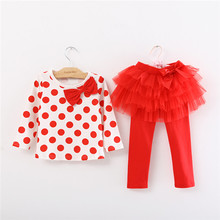 Retail 2017 New  Kids Girls Clothing Set butterfly Dots t shirt + Puff Skirt Cotton Baby Girls Suits Set fashion Children Girl C
