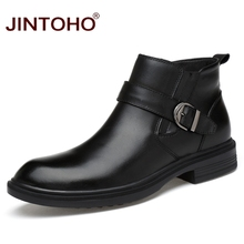 JINTOHO 2017 High Quality Genuine Leather Winter Men Shoes Ankle Leather Boots Warm Winter Men Boots Brand Fashion Male Boots